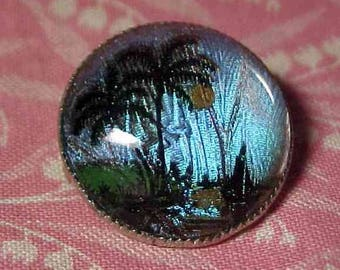 Vintage Blue Butterfly Wing Brooch Reverse Painted under Glass Palm tree Scene