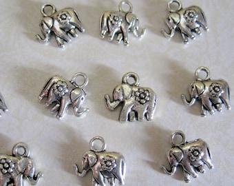 Tibetan Silver Elephant Flower Charms - Set of 11 - 12mm