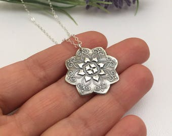 Large Mandala Necklace Yoga Spiritual Gift for Mom Fine Silver