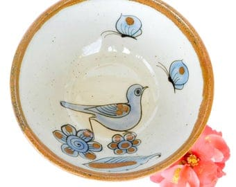 "Vintage Ken Edwards El Palomar Mexico Stoneware 6 1/4"" Soup / Cereal Bowl 1970/80's Bird Signature Traditional Series"