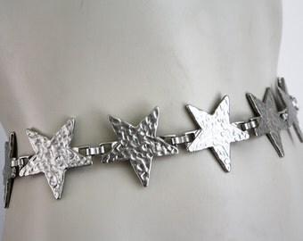 Heavy Silver Tone Star Shape Metal Unisex Vintage Belt