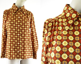 Fred Rothschild Burnt Orange and Mustard Yellow 70's Vintage Print Unisex Button Down Long Sleeve Polyester Blouse