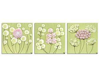 Girls Room Flower Decor Art in Green and Pink - Set of Three Sculpted Flower Paintings on Canvas - Medium 32x10