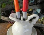 Ceramic White Pitcher and Bowl   TOOTH Brush Holder  or Pen Holder Bathroom decor - Glazed ceramic - Harry Potters owl friend -cm