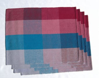 Hand Woven Placemats Woven Burgundy, Blue and Grey Placemats 4 Plaid Placemats 2 Woven Placemats Woven Plaid Table Mats Woven Table Scarf