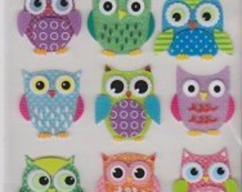 3d Glitter Owl Stickers - Bright Colors | Birds | Scrapbooking | Scrapbook | Paper crafting