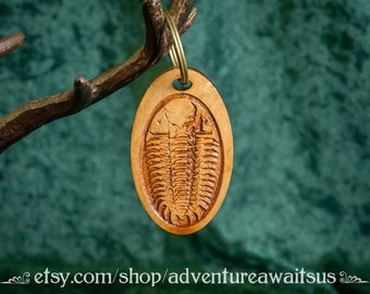 Trilobite Keyring - wood laser engraved cut maine made car key keys keychain fossil sea ocean marine arthropod archeology paleontology