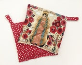 Potholders, Set of 2, Patchwork Potholders, Hostess Gift, Eco Friendly, Red Roses