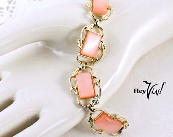 "1950s CORO Pink Thermoset Link Bracelet - Luminous Rectangle Thermoplastic ""Stones"" w/ Art Nouveau Inspired Gold Tone Leaves"