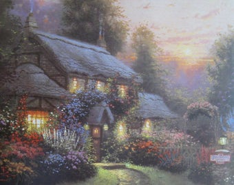 Two Thomas Kinkade Original Book Page Prints - Julianne's Cottage and Olde Porterfield Tea Room