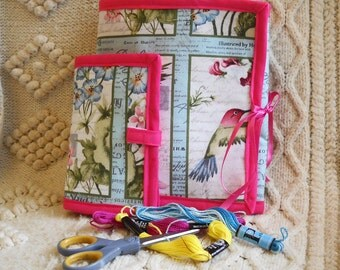 Pink Hummingbirds Sewing Caddy, Needle Book, Hand Sewing Organizers