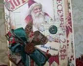Handmade Christmas Card Santa Christmas Card Vintage Style Christmas Card