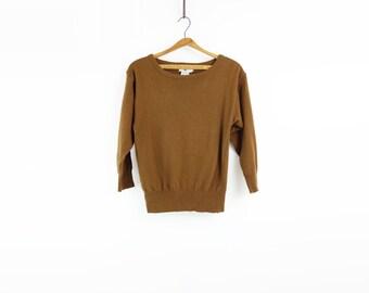 Vintage Wool Sweater Mustard Brown 1980s Dolman Sweater 80s Tawny Sweater 80s Camel Sweater 1980s Wool Sweater 80s Mustard Sweater small