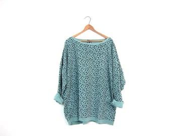 90s Floral Top Long Underwear Cotton Shirt Oversized Blue Green Flower Print Slouchy Shirt Vintage Womens Boho Hipster Tee XL
