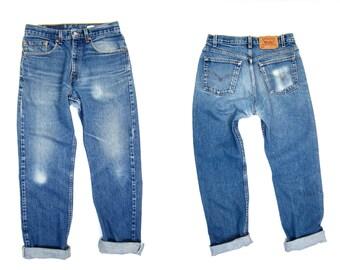 LEVIS 80s Worn In Blue Jeans Mens 505 Denim Straight Leg Boyfriend Jeans Vintage Mechanics 1990s Hipster Grunge Womens Medium