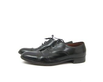 Black Leather Men's Shoes lace up dress Florshiem shoes Leather Oxfords Brogues Man's size 10 AA