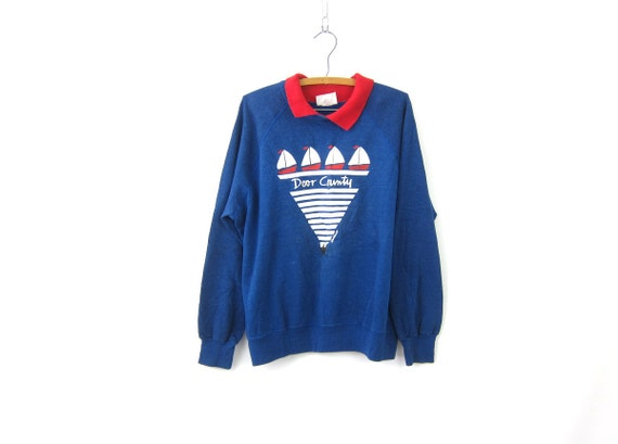Blue Door County Wisconsin sweatshirt Sailboat Nautical 1985 Raglan Sleeves vintage souvenir Preppy crewneck pullover Large XL