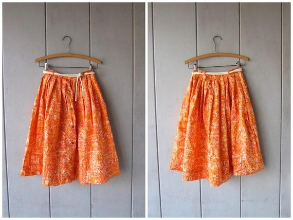 60s Mod Skirt Orange Button Up Summer Mini Skirt High Waist Skirt + Rope Belt Sixties Beach Skirt Abstract Louannes Vintage Womens XS SMALL