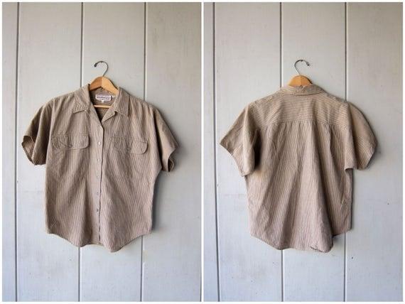 80s Striped Cotton Shirt Button Up Blouse Beige Taupe Minimal Button Up Shirt Dolman Short Sleeve Shirt Tee DES Vintage Womens Small Medium