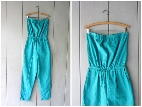 Vintage 80s Teal Green Cotton Jumpsuit TUBE TOP Romper TaperedPantsuit Skinny Vintage Romper High Waisted Sleeveless Top Romper Large