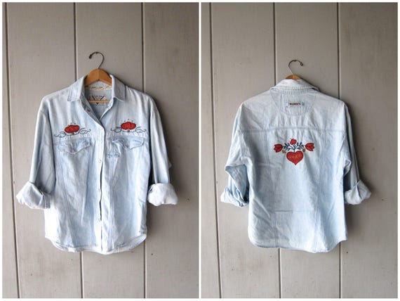 90s Jean Shirt Embroidered Denim Button Up Patchwork Pearl Snap Shirt Chambray Shirt Hipster Boho Cowgirl Shirt Vintage Dells Womens SMALL