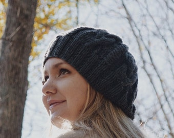 Knit cable beanie, knit wear, knit Cable hat, women accessory, handmade, knitgift, The Annie hat.