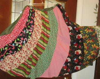 Christmas bright reds green sparkle  skirt gored swirl fun skirt Small, Medium , Large, Xlarge  Plus size 1XL, 2XL,3XL, 4XL up to 60'' waist