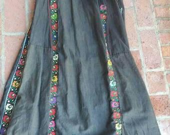 Syrian folk dress kaftan antique prayer robe for repair or study  embroidered polished black cotton Afghanistan etnic  boho hippy vintage