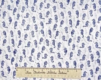 Nautical Fabric - Sea Dark Blue Seahorse on White - Timeless Treasures YARD
