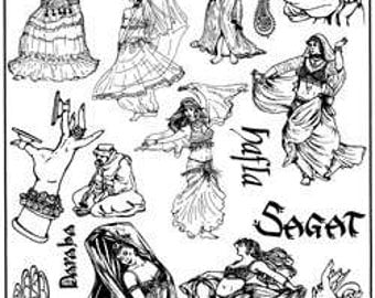 Unmounted Belly Dance Rubber Stamps