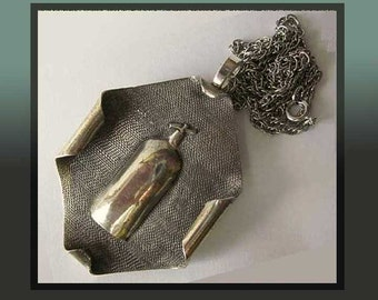 Scotch and SODA-Oddball Siphon/Seltzer Bottle Modernist Sterling Silver Pendant/Pin,Bartender,I960s,Vintage Jewelry,Unisex