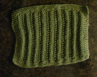 Hand Knit Sage Green Dishcloth - measures approximately 81/2x91/2 inches