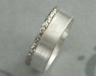 Two Tone Band~14K White Gold & Silver Ring~Rococo King Ring~Men's Wedding Ring~Swirl Band~Embossed Band~Unique Ring~7mm Band~White Gold Ring
