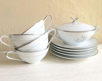 11 Piece Set of Vintage Noritake China Ardis Pattern Elegant Tea Cups Saucers Matching