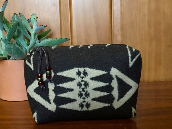 Cosmetic Bag / Makeup Bag / Zippered Pouch Large Wool Earthy Brown