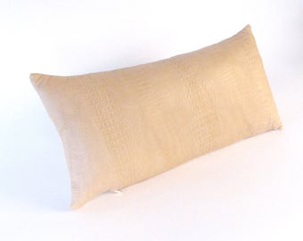 Beige Leather Pillow ~ Croc Embossed Pillow ~ Small Beige Pillow ~ Beige Accent Pillow ~ Embossed Croc Lumbar Pillow ~ Tan Leather Pillow
