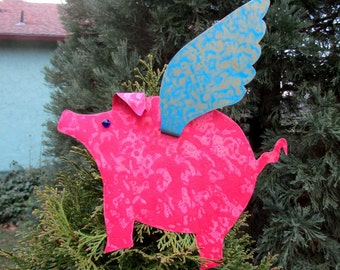 Christmas tree topper flying pig metal art when pigs fly coral magenta coral turquoise  9 x 11