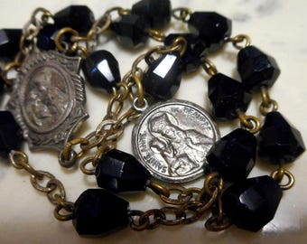 Black Glass SAINT ANNE CHAPLET rosary