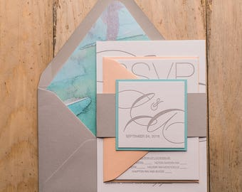 Letterpress, 1 color - Beach Cutie Wedding Invitations - SAMPLE (JESSICA)