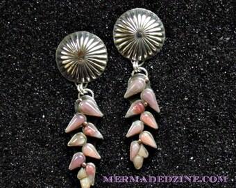 Pink Opal Heliconia Dangle Earrings w 14k