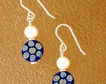 Blue Polymer and Freshwater Pearl Earrings