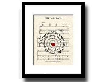 Sweet Baby James Spiral Song Lyric Sheet Music Art Print, New Baby, Nursery, Name and Date, James Taylor Music Art, Music Wall Art