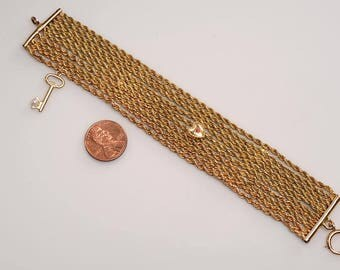 What to do with your inherited Watch Chain, Lorgnette Chain?  Gold Filled Chain and End Caps, Gold Heart Slide, Gold Key with Cultured Pearl