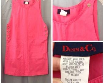 Vintage 1980s DENIM & CO hot pink denim jumper, size small