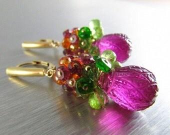 20 Off Carved Fuchsia Quartz With Chrome Diopside, Peridot, Garnet and Orange Quartz Earrings, Colorful Earrings
