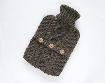 Sandstone hot water bottle sweater / cover - 100 per cent Scottish Natural Undyed Wool. Hand Knit Bottle Cosy / Cozy.
