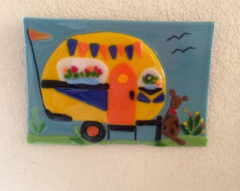 Retro camper trailer dog fused glass wall art decor plaque plate