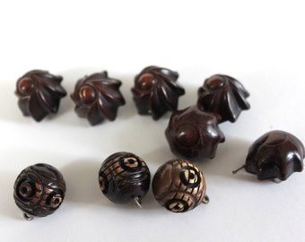 Two sets of unique Vintage Buttons - Bakelite, plus Carved Wooden Shanks (9 in all)