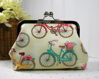 Metal Frame Purse, Kiss Lock Purse .. Paris Bicycles, Bicycles with Flowers