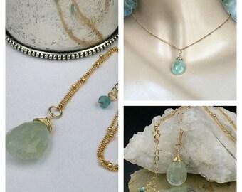 HOLIDAY SALE Aquamarine Pendant Aquamarine Briolette Necklace Wire Wrap 14kt Gold Fill  Dangle Aqua Blue Pendant Gold Fill Chain Delicate Je
